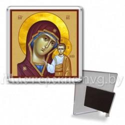 Икона-магнит на подставке, акрил., МгИ-3, Казанская БМ, охра