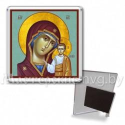 Икона-магнит на подставке, акрил., МгИ-4, Казанская БМ, бирюза
