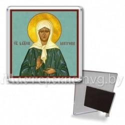 Икона-магнит на подставке, акрил., МгИ-6, Матрона Московская, бирюза