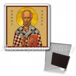 Икона-магнит на подставке, акрил., МгИ-7, Николай Чудотворец, охра