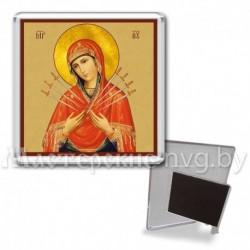 Икона-магнит на подставке, акрил., МгИ-9, Семистрельная БМ, охра