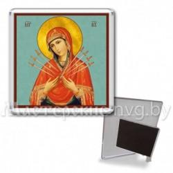Икона-магнит на подставке, акрил., МгИ-10, Семистрельная БМ, бирюза