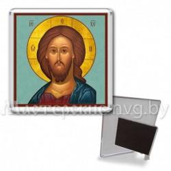 Икона-магнит на подставке, акрил., МгИ-12, Спаситель, бирюза