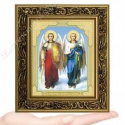 Архангелы Михаил и Гавриил , V-184 / 10х12 икона, двойное тиснение / Багет В