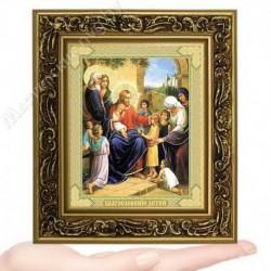 Благословение детей, V-166 / 10х12 икона, двойное тиснение / Багет В