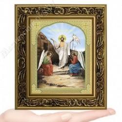 Воскресение Христово, V-136 / 10х12 икона, двойное тиснение / Багет В