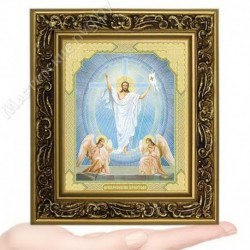 Воскресение Христово, V-53 / 10х12 икона, двойное тиснение / Багет В