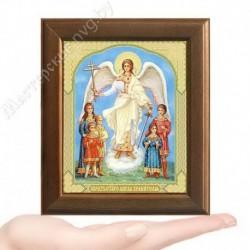 Ангел с детьми, V-165 / 10х12 икона, двойное тиснение / Дерево