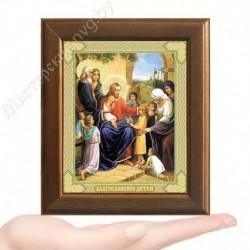 Благословение детей, V-166 / 10х12 икона, двойное тиснение / Дерево
