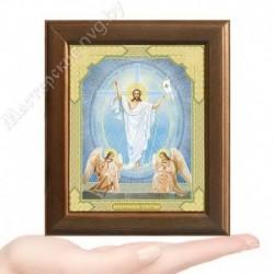 Воскресение Христово, V-53 / 10х12 икона, двойное тиснение / Дерево