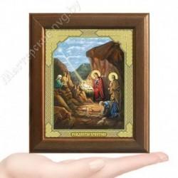 Рождество Христово, V-73 / 10х12 икона, двойное тиснение / Дерево