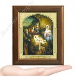 Рождество Христово, V-174 / 10х12 икона, двойное тиснение / Дерево