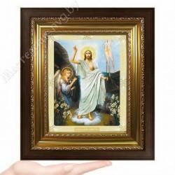Воскресение Господне, N-51 / 15х18 икона, двойное тиснение / Киот КП2