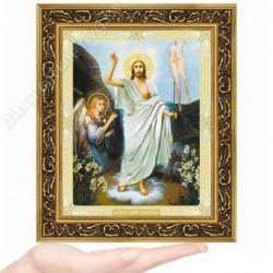 Воскресение Господне, N-51 / 15х18 икона, двойное тиснение / Багет В