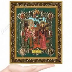 Киприан и Иустиния, NS-9 / 15х18 икона, конгрев цветной / Багет В