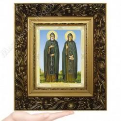 Петр и Феврония, N-50 / 15х18 икона, двойное тиснение / Багет Е