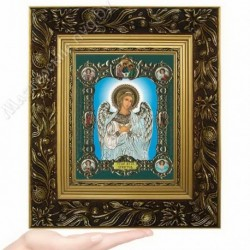 Ангел Хранитель (на голубом), NS-1 / 15х18 икона, конгрев цветной / Багет Е
