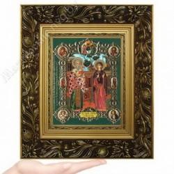 Киприан и Иустиния, NS-9 / 15х18 икона, конгрев цветной / Багет Е