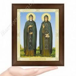 Петр и Феврония, N-50 / 15х18 икона, двойное тиснение / Дерево