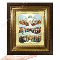 Всех святых (новый), D-62 / 17х21 икона, двойное тиснение / Киот КП2