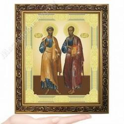 Петр и Павел, D-37 / 17х21 икона, двойное тиснение / Багет В