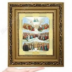 Всех святых (новый), D-62 / 17х21 икона, двойное тиснение / Багет Д