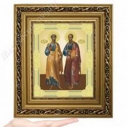 Петр и Павел, D-37 / 17х21 икона, двойное тиснение / Багет Д