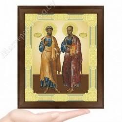 Петр и Павел, D-37 / 17х21 икона, двойное тиснение / Дерево