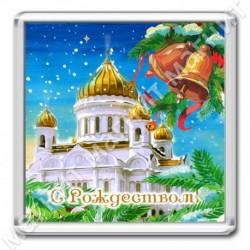 Магнит акрил., 1721-МгР152, Рождество, Белый храм, квадрат