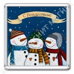 Магнит акрил., 1721-МгР157, Рождество, Снеговики