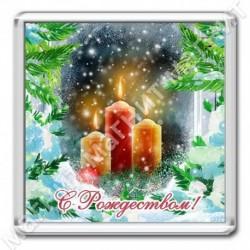 Магнит акрил., 1721-МгР158, Рождество, Свечи в окне