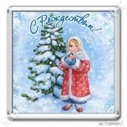 Магнит акрил., 1721-МгР159, Рождество, Девочка со снегирем