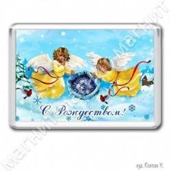 Магнит акрил., 1721-МгР166, Рождество, Ангелы со снежинками