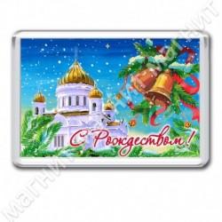Магнит акрил., 1721-МгР176, Рождество, Белый храм, прямоугольник