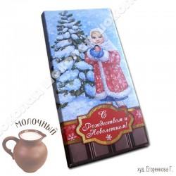 Шоколад молочный, 90г / шР19, Рождество, девочка со снегирем