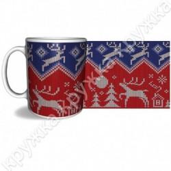 Кружка керам., 300 мл, КРХ-324, Рождество, Вязание красно-синее