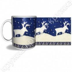 Кружка керам., 300 мл, КРХ-340, Рождество, Вязание, белый олень на синем
