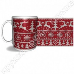 Кружка керам., 300 мл, КРХ-341, Рождество, Вязание красное