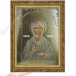 Матрона Московская, EG-5 / Икона 33х45, золотистый конгрев / Багет Д