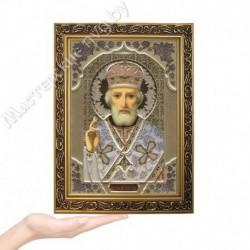 Николай Чудотворец, GP-4 / Икона 17 х 24, золотистый конгрев / Багет В