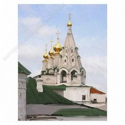 Картина на подрамнике, 22х30, Кт-30, Богоявленский храм, худ. Г. Балиев