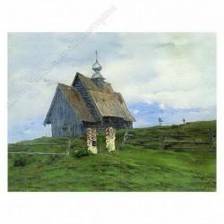 Картина на подрамнике, 22х30, Кт-54, Деревянная церковь, худ. И. Левитан