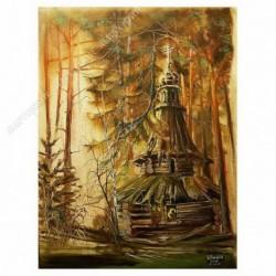 Картина на подрамнике, 22х30, Кт-56, Лесной скит, худ. В. Барков