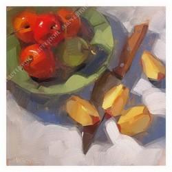 Картина на подрамнике, 25х25, Кт-66, Натюрморт с яблоком, худ. Carol Marines