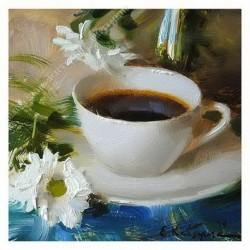Картина на подрамнике, 25х25, Кт-69, Натюрморт с чашкой, худ. Е. Кацура