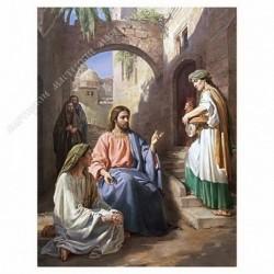 Картина на подрамнике, 30х40, Кт-3, Христос в доме Марфы и Марии, худ. Д. Хомяков