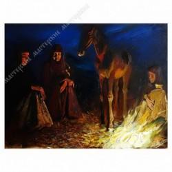 Картина на подрамнике, 30х40, Кт-9, Тепло монастырского костра