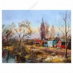 Картина на подрамнике, 30х40, Кт-12, Весна. Покровский храм, худ. А. Филиппов